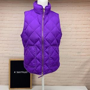 J. CREW Down Feather Puffer Excursion Purple Vest
